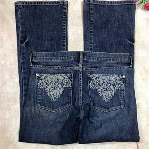 """NOIR WHBM"""" EMBROIDERED POCKETS BOOTCUT JEANS Sz8"""